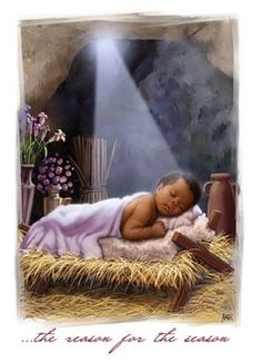 The Reason for the Season - African American Christmas Cards Black Jesus Pictures, Black Art Pictures, African American Artwork, African Art, Christmas Scenes, Christmas Cards, Black Christmas, Merry Christmas, Christmas Decorations