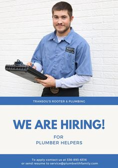 We are hiring for dedicated helpers who are looking to get into the plumbing business. No experience needed, just driven to learn and succeed. If this is you or someone you know, please contact us today!