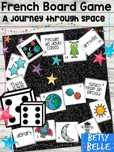 Simple, fun, effective board game about French words for: space; moon; Sun; rocket; astronaut; planets; earth; alien and stars (l'espace; la lune; le soleil; une fusee; un astronaute; les planetes; un extraterrestre et les etoiles). Increased engagement a