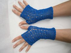 Royal Blue Crochet Lace Fingerless Gloves by nanabis on Etsy, $25.00