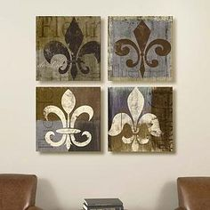 Set Of 4 16 X 16 Fleur De Lis Canvass Printd