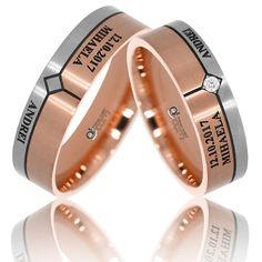 Un model deosebit de verighete din gama Atcom de Lux intr-o combinatie de aur alb si roz cu finisaje mate,  permite tinerilor casatoriti  sa graveze o declaratie, ziua nuntii sau alt mesaj. Wedding Rings, Engagement Rings, Lady, Jewelry, Model, Rings, Schmuck, Enagement Rings, Jewlery