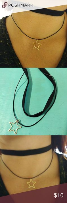 """Black fashion choker with daggeling gold star COMMON SIZE – 30cm/ 12.2"""" choker length with 6cm/ 2.4"""" chain length, common size fit for most people. New in wrapper. Paxcoo Jewelry Necklaces"""