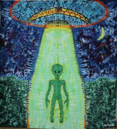 LOve the Alien... I have been putting the head on tees for a while ... it was time for the whole thing to appear ...life size .... this tapestry is 8 ft tall and 7 ft wide