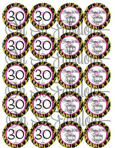 Personalized Leopard 30th Birthday Cupcake Toppers by OhSoFabulous, $7.00