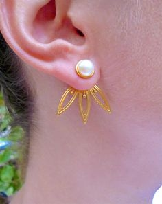 Art Deco Earrings, Unique Earrings, Etsy Earrings, Unique Jewelry, Pearl Earrings, Ear Jacket, Christmas Gifts For Her, Gifts For Mom, Front Back Earrings
