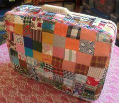 AMANDA Gypsy Suitcase - Patchwork Fabric Covered Vintage Suitcase on Etsy, $175.00