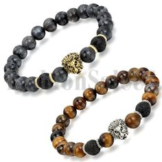 """Men's Women Lava Tiger Eye Stone Lion Buddha Beaded Elastic Bracelet Bangle 2pcs    Color:Black;Brown  Material: Lava/Tiger Eye Stone Alloy  Size:8.7""""(22cm)*0.31""""(8mm)  Beads Width:0.31""""(8mm)  Weight: 10g(Approx)      This bracelet is 100% Brand New And High quality.Its special design will make you look unique. It is a good gift for your lover,family,cowoker,friends.It make you charm and elegant.  Brand Unbranded Style Chain Metal Alloy Metal Purity Unknown Main Sto..."""