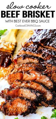 "Wonderfully juicy, flavor exploding, melt-in-your-mouth Slow Cooker Beef Brisket. Wonderfully juicy, flavor exploding, melt-in-your-mouth Slow Cooker Beef Brisket is my favorite meat dish EVER and "" Crock Pot Recipes, Beef Recipes For Dinner, Crock Pot Cooking, Cooking Recipes, Easy Beef Recipes, Chicken Recipes, Healthy Beef Recipes, Bbq Dinner Ideas, Cooking Oil"