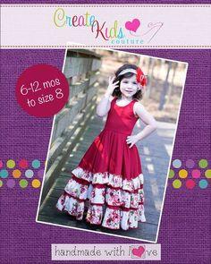 Create Kids Couture - Alejandra's Ruffled Maxi Dress PDF Pattern, $8.00 (http://createkidscouture.com/alejandras-girls.html)