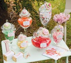We love this idea for a vintage summer garden party. fill apothecary jars with sweeties and decorate with fabric rosettes and buttons! 21st Party, First Birthday Parties, First Birthdays, 50th Birthday, Tea Party, Birthday Ideas, Vintage Garden Parties, Vintage Party, Vintage Picnic