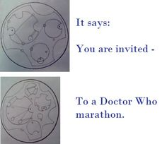Yeah, I was waiting for my fingernails to dry, so I thought it was as good an excuse as any to geek out. Doctor Who party invitation in Gallifreyan? Yeah. I did that.