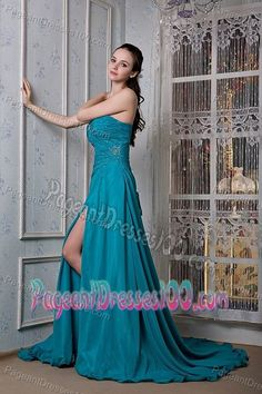 Lace-up Court Train Slitted Teal Prom Pageant Dress with Beading