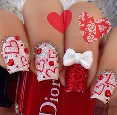 This Lovely valentine nails design ideas 71 image is part from 80 Inspiring Lovely Valentine Nail Art Design Ideas gallery and article, click read it bellow to see high resolutions quality image and another awesome image ideas. Fabulous Nails, Gorgeous Nails, Love Nails, Fun Nails, Pretty Nails, Glitter Nails, Sexy Nails, Nail Art Saint-valentin, Nail Nail