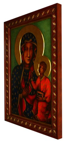Matka Boska Częstochowska - kopia ikony - Pracownia Temper Madonna Art, Blessed Virgin Mary, Tempera, Mona Lisa, Ornament, Artwork, Painting, Polish, Decoration