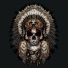 Hand drawn of indian skull Premium Vector Indian Chief Tattoo, Indian Headdress Tattoo, Indian Skull Tattoos, Skull Rose Tattoos, Native American Tattoos, Native Tattoos, Native American Artwork, Native American Indians, Native American Warrior