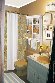 Harvest Gold Bathroom – Pick My Presto | Add corbels from Lowe's or Home Depot to a Pottery Barn bathroom shelving unit & a dowel for the towel bar. The Lettered Cottage