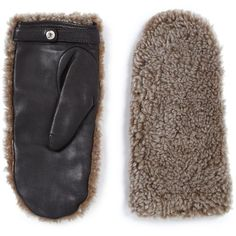 Rag & Bone Shearling & Leather Mittens ($325) ❤ liked on Polyvore featuring accessories, gloves, apparel & accessories, natural, leather gloves, leather mittens, rag & bone, mitten gloves and shearling mittens