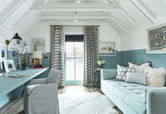Fabulous office with Lee Industries trundle bed. Love the half blue walls with the vaulted ceiling. Southern Living, Coastal Living, Best Sleeper Sofa, Beach Cottage Decor, Coastal Cottage, French Cottage, Cottage Style, Cottage Renovation, Coastal Bedrooms