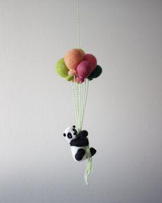 Aguja de fieltro oso Panda con globo ramo vivero niños habitación decoración colgante