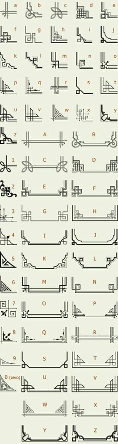 The perfect reference list for Art Deco Letterhead Fonts / LHF Corner Specimens / Scrolls and Borders Motif Art Deco, Art Deco Design, Art Deco Borders, Design Design, Cadre Design, Doodles, Free Motion Quilting, Grafik Design, Letterhead