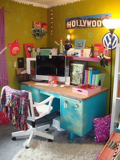stay creative and get inspired with a colorful desk area