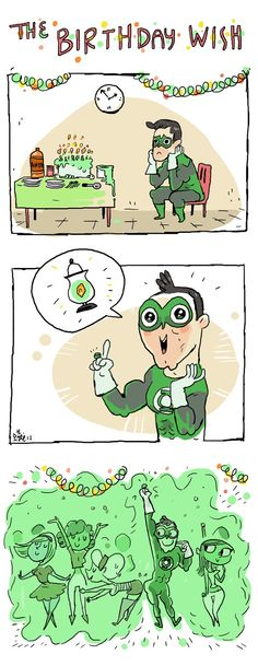 No one wants to come to Green Lantern's party.  (from Sketch Adventure!)
