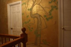 Chinoiserie Mural Painting with Painted Gold Background
