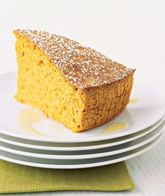 Spiced Sweet-Potato Cake With Custard Sauce: Drizzle the chilled custard sauce over the warm cake before serving for an elegant finish.