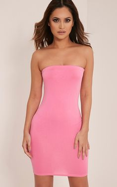 Lorrie Bubblegum Pink Bandeau Bodycon Dress