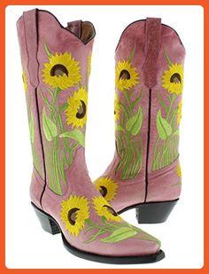 Cowboy Professional - Women's 10.5 BM Sunflower Embroidery Leather Cowboy Boots 10.5 BM - Boots for women (*Amazon Partner-Link)