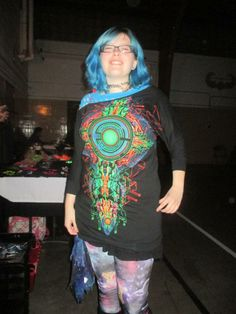 Happy customer in her brand new blacklight reactive 3D tunic. Supply is limited ORDER NOW! Visit our online shop. Enter coupon code BUNKY and SAVE 10% when you shop Monkey Bunny Inc. http://www.monkeybunnyinc.com