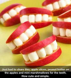 Apple, marshmallows and peanut butter teeth.  #Halloween