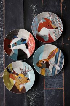 Set of 4 Beautiful Beasties Porcelain Plates with Gift Box