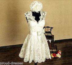 2015 vintage White Ivory Short Lace Wedding Dress Plus Size 2-28 Custom  Made