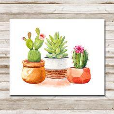 Art Prints, Watercolor Art, Modern Artwork, Digital Artwork, Wall Art, Drawings, Cactus Art, Painting, Art