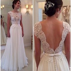 New Vintage Lace Backless Elegant Simple Modest A-line Wedding Dresses. WD0261