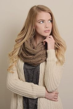 womens mocha knit scarf ♥