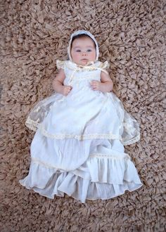 VICTORIA gown and bonnet.  Crinkle cotton fine cotton, lined in 100% lawn cotton and overlay of beautiful little bows embroidered on mesh