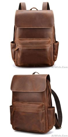 Retro Thick Leather British Style Simple Handmade Original Men School Backpack #bag #backpack #school #Retro