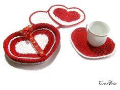 Crochet heart coasters with basket