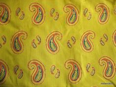 This is Indian block printed cotton fabric in olive green color. Fabric has rust, dark green and golden paisley motifs block printed on Green Indian Block Print, Indian Prints, Textiles, Textile Prints, Olive Green Color, Border Print, Green Backgrounds, Roman Shades, Paisley Print