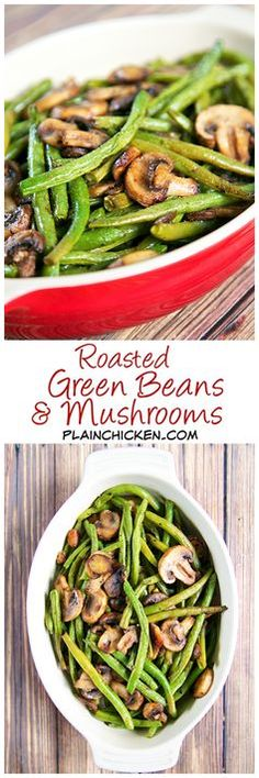 Low Carb Recipes To The Prism Weight Reduction Program Roasted Green Beans And Mushrooms Recipe - Fresh Green Beans And Mushrooms Tossed In Olive Oil, Balsamic, Garlic Salt, Pepper And Baked. So Simple And Sooo Delicious Ready In About 20 Minutes. Healthy Recipes, Side Dish Recipes, Vegetable Recipes, Vegetarian Recipes, Cooking Recipes, Recipes Dinner, Lunch Recipes, Salad Recipes, Vegetable Sides