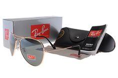 New 2014 Ray Ban Aviator Black Lens Golden Sunglasses