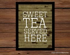 "Framed Kitchen Print ""Sweet Tea Served Here"" #inspirationalmemories #duckdynasty #aged #vintage #countrykitchen #woodplank #agedprint #framedprint #art #sweettea #country #distressed"