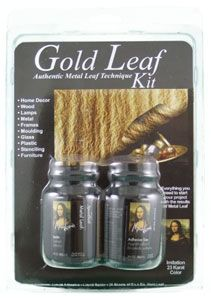 "This Gold Leaf Kit supplies everything you will need to add beautiful imitation 23 gold karat colour to home decor, wood, lamps, frames, furniture and more. This kit includes 25 sheets of 5 1/2"" x 5 1/2"" gold leaf, liquid adhesive and sealer. $14.95"