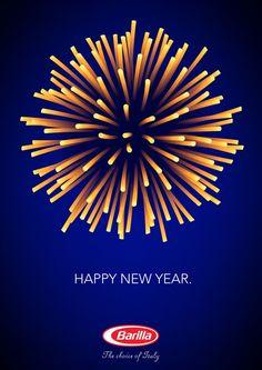 Anúncio de Ano Novo da Barilla usa macarrão como fogos de artifício