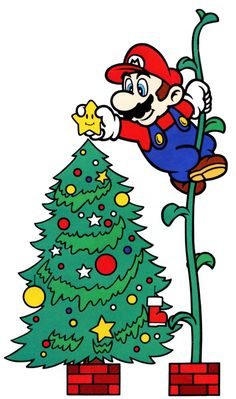 Have yourself a Mario little Christmas! Super Mario Bros, Super Mario World, Super Mario Brothers, Super Smash Bros, Wii U, Mario And Luigi, Mario Kart, Zelda, Video Game Art