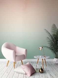 two-color-wall design-ombre-wall color wallpaper walls-creative-make - Do it yourself decoration Deco Pastel, Pastel Decor, Ombre Wallpapers, Home And Deco, Paint Designs, New Room, Home Interior, Interior Decorating, Decorating Ideas