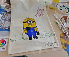 Cute Minion Bag Minion Bag, Cute Minions, Painting Workshop, Tableware, Color, Atelier, Dinnerware, Tablewares, Colour